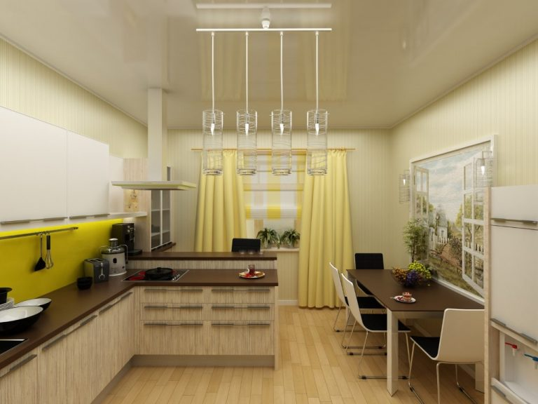 yellow modern kitchen interior 3d concept